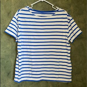 Old Navy Blue and White Striped Tee